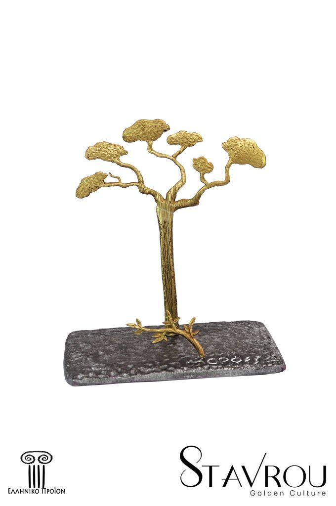 Διακοσμητικό δώρο γραφείου,καρτοθήκη - καρτελοθήκη, ''πεύκο''σε αφαιρετική γραμμήχειροποίητα κατασκευασμένο, από ανακυκλωμένο αλουμίνιο η βάση του και ορείχαλκο το θέμα.  #καρτοθήκες #δώρα_γραφείου #εταιρικά_δώρα #συνεδριακά_δώρα