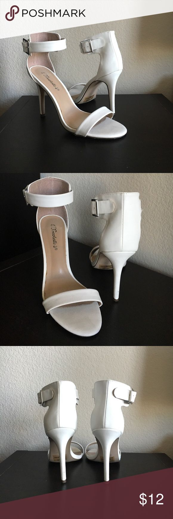 White Strappy High Heels White faux leather Strappy High Heels with belt buckle closure - Breckelle's® brand in US Women's size 7 Breckelles Shoes Heels