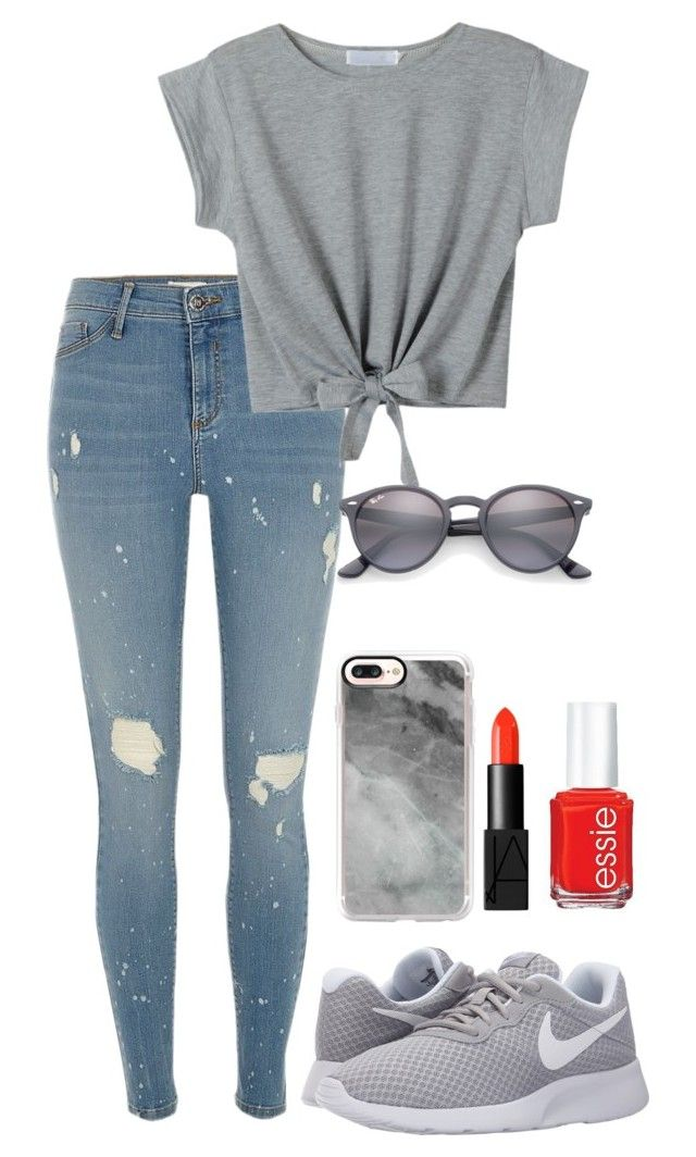 """grey"" by roselie1405x on Polyvore featuring River Island, WithChic, NIKE, Casetify, Ray-Ban, NARS Cosmetics and Essie"