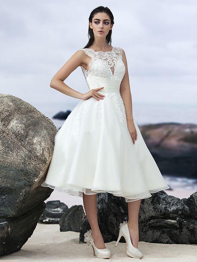 Lanting Bride® A-linje Brudekjole Små Hvite Kjoler Knelang Besmykket Organza med Appliqué - NOK kr964