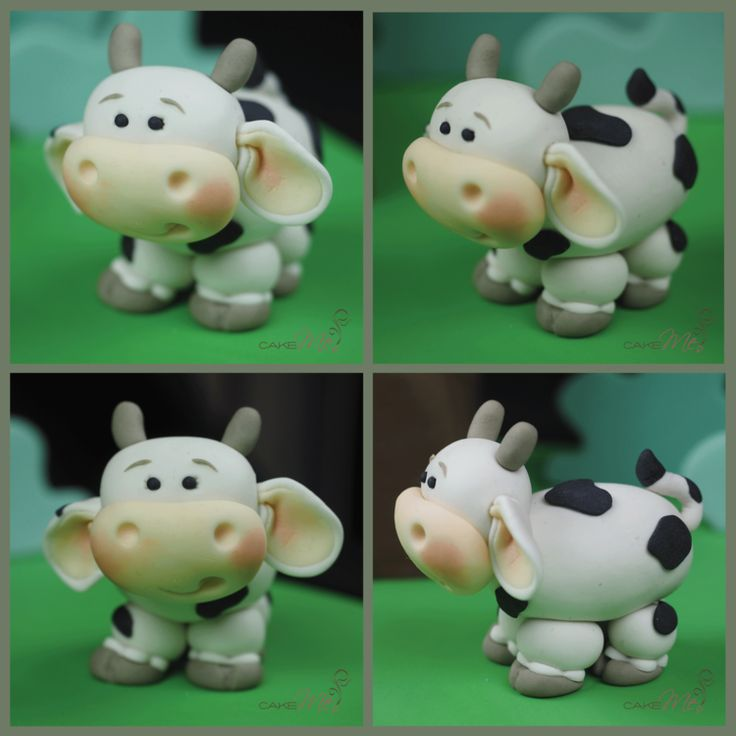 Cake Me! - Fondant cow topper, so cute with pink blush and big ears.  www.cakeme.com.au