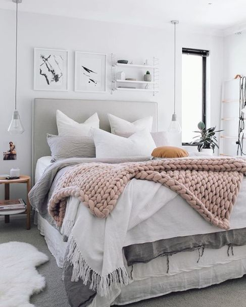 Blush Pink Chunky Knit Throw - Bedroom Ideas