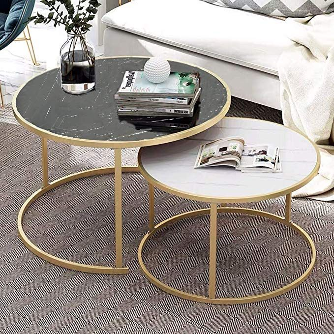 Coffee Table Living Room Modern, Small Round Metal And Glass Coffee Table
