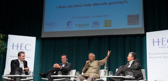 """Muhammad Yunus, winner of the 2006 Nobel peace prize, founder of Grameen bank and co-president  of the HEC """"Social Business: Enterprise and poverty"""" Chair was the exceptional guest at a conference held October 29th 2012 at HEC"""