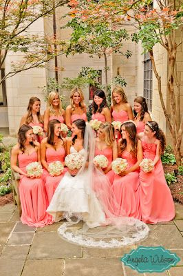 #Coral #Bridesmaids #Dresses  ♥ How to organise your entire wedding ... https://itunes.apple.com/us/app/the-gold-wedding-planner/id498112599?ls=1=8 ♥ For more wedding inspiration ... http://pinterest.com/groomsandbrides/boards/ & magical wedding ideas.