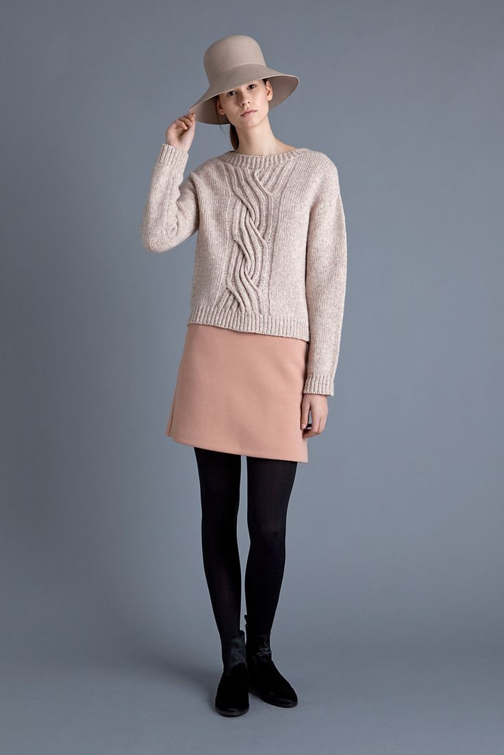 Lampshade Hat, Haiku Sweater, Baffin Skirt and Chelsea Boot | Samuji FW15  Seasonal Collection