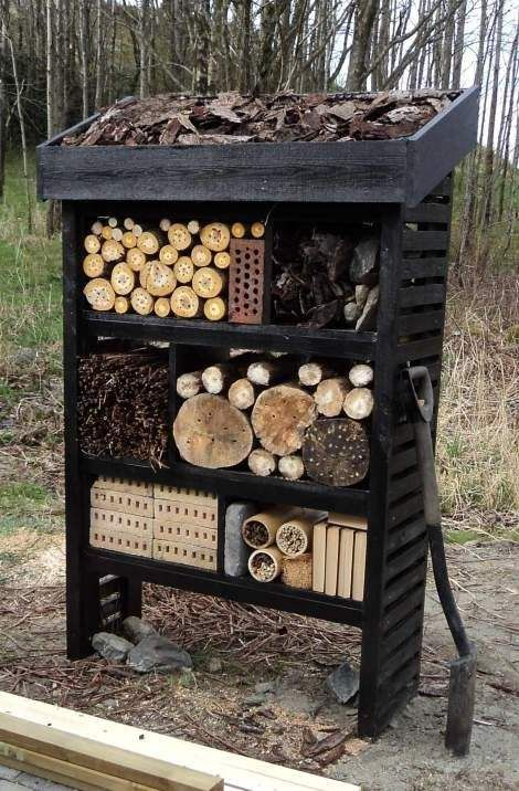 amazing 11 Inspirations for Insect Hotels You call it garden art, insects will call it home. These chic bug hotels will offer shelter and even food for beetles, bees, a...