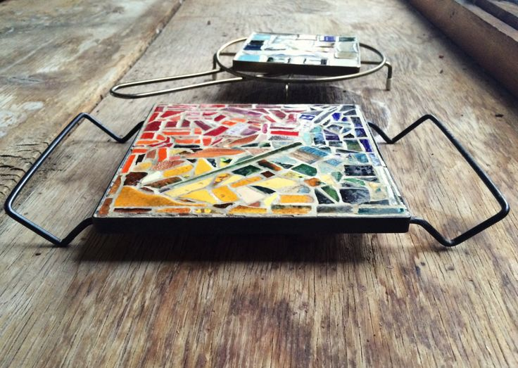 Pair of midcentury modern mosaic tile metal trivets, vintage tile mosaic table top trivet hairpin handle metal legs, retro hot plates