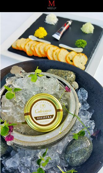 """Indulge a little, its Friday. New Ars Italica Calvisius Caviar Promotion. Considered in history to be one of the most """"elite"""" caviars in the world, second only to Beluga. Marini's on 57 is serving up 30 grams at only RM398++ Comes served with toast, eggs, gherkins, sour cream, onions, and capers. #marinis57 #themarinisgroup #tmg #breakfast #caviar  #champagne #lapofluxury #luxeliving #caviar #oysters #klcc #kualalumpur #Malaysia"""