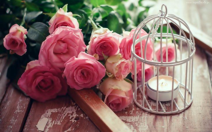 Różowe, Róże, Bukiet, Świeca, Dekoracja