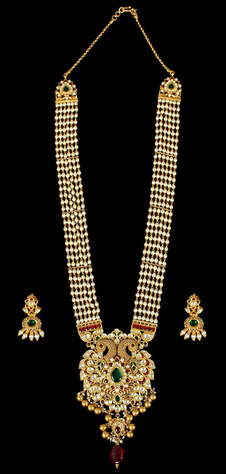 Kundan #Neckalce with Pearls and Peacock Design #jewellery