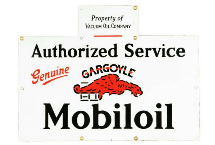 Original Mobiloil Gargoyle Porcelain Sign