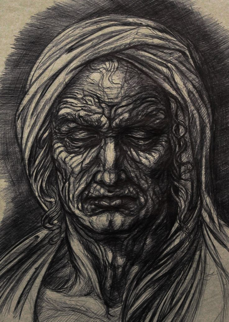 ©Pasquale Abbatiello - Old man - ballpoint pen sketch