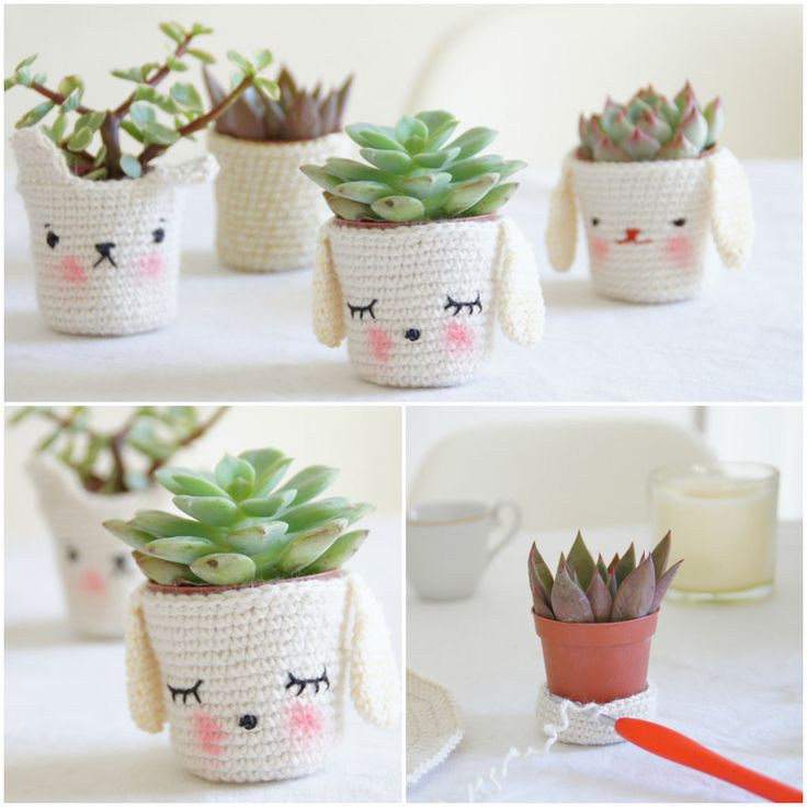 Super cute #crochet planters via @Recyclart (reused recycled reclaimed repurposed)