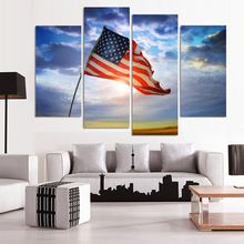 Promotion Modern Wall Canvas Painting American Flag Modular Pictures HD Wall Pictures For Living Room Hot Cuadros Decoracion(China (Mainland))