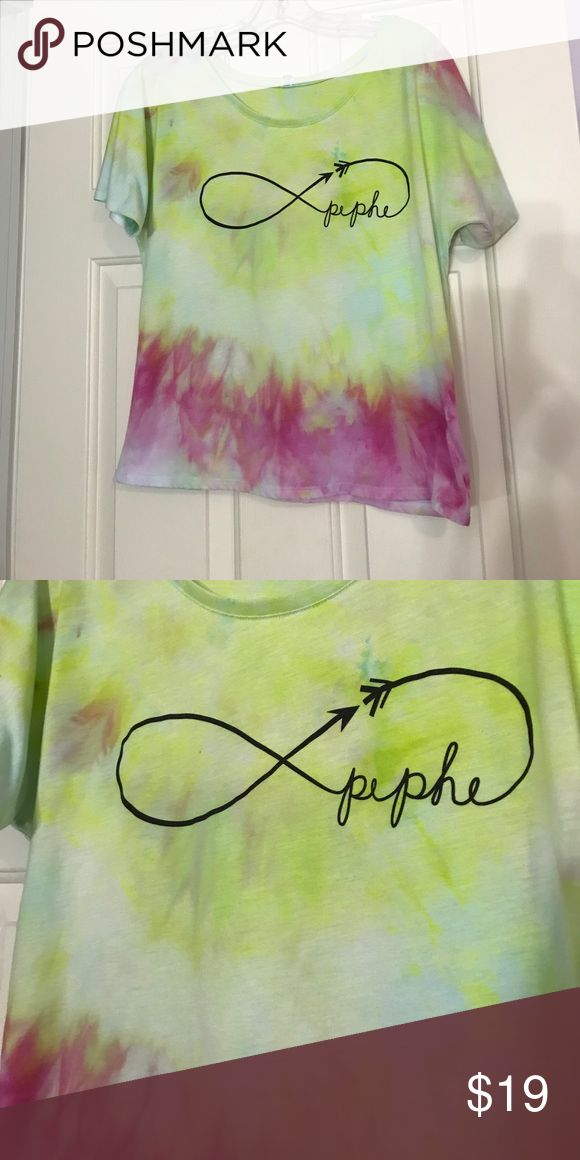 Handmade ty dye infinity shirt! Repurposed thrift store top. Made into ty dye. Originally Dehlias shirt. No size. About M Tops
