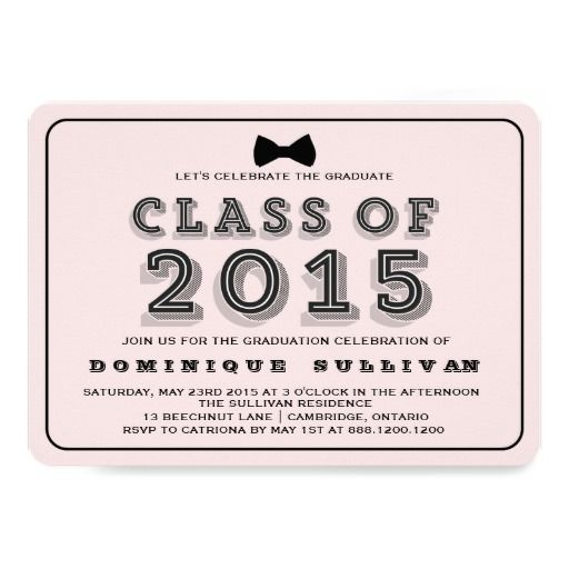 129 best pink graduation invitations images on pinterest pink black class of 2015 graduation invitation filmwisefo Images