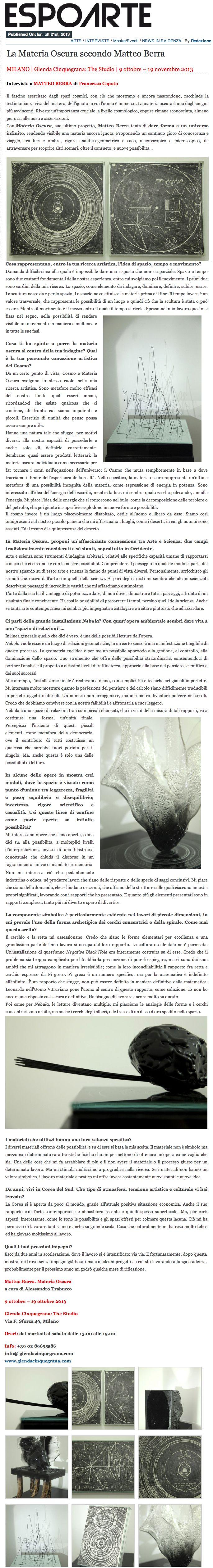 I temi fondamentali della mostra personale di Matteo Berra nell'intervista di Francesca Caputo per Espoarte.