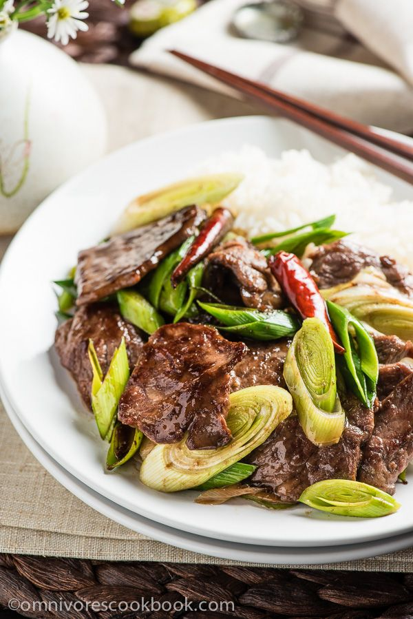 Scallion Beef Stir Fry (葱爆牛肉) - The beef is tender, moist, and caramelized as it cooks in a sweet savory sauce. It takes only 15 minutes to prep and cook! | omnivorescookbook.com