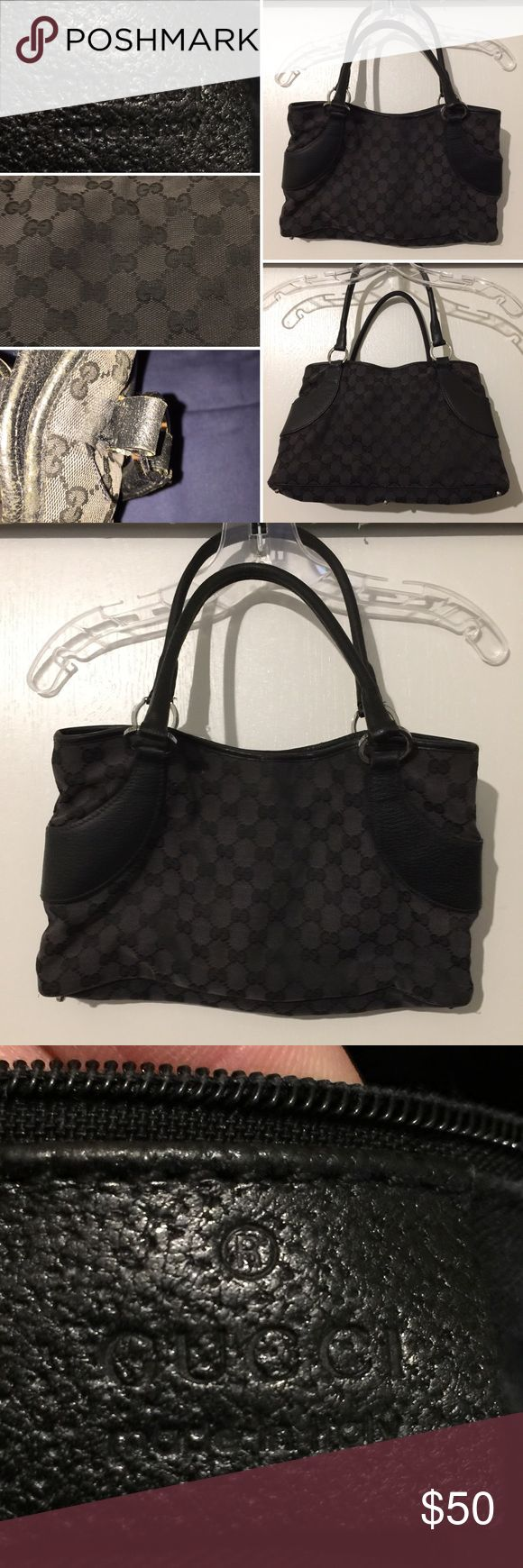 Authentic Gucci Black Purse In bad shape but functional. Authentic Gucci Purse. One of the thread in one of the straps is a little undone. Rim leather is worn down. The material is Gucci logo canvas and the contrast is leather. Gucci Bags Shoulder Bags