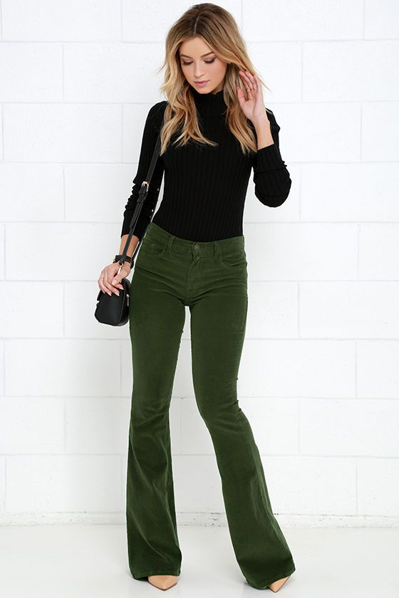 Walking in Memphis Olive Green Corduroy Flare Pants at Lulus.com!