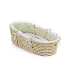 Natural Moses Basket with Sage Gingham Bedding