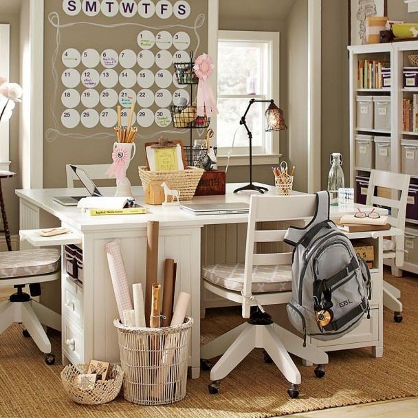 School Desk Beige and White Girls Bedroom Design for Teens by PB Teen