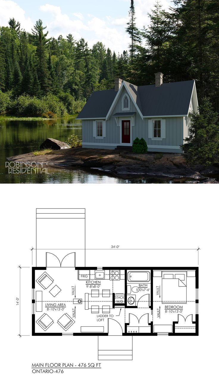 Best 25 1 bedroom house plans ideas on pinterest guest for Canadian cottage house plans