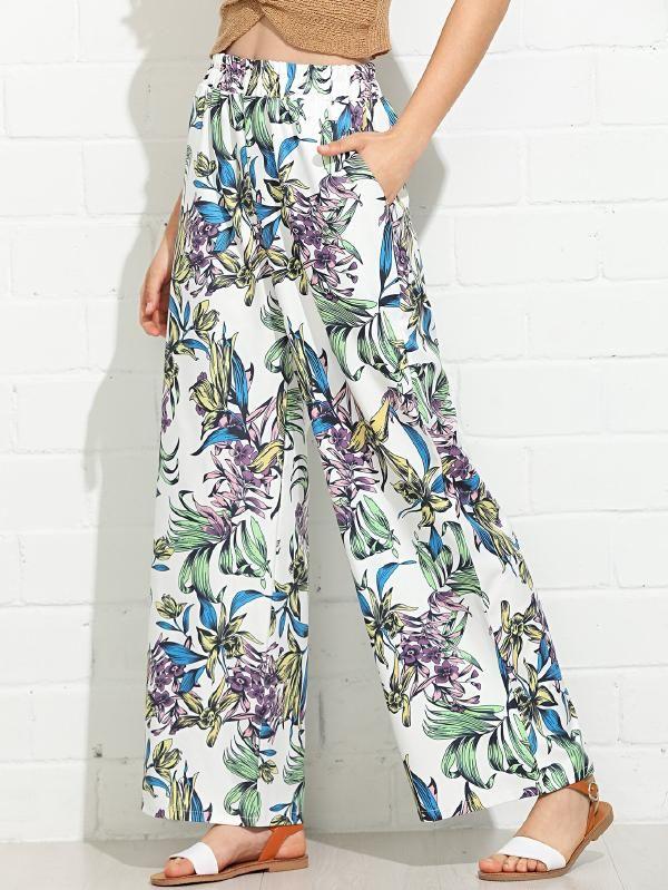 4ad72f8077 Floral Print Wide Leg Pants -SheIn(Sheinside)