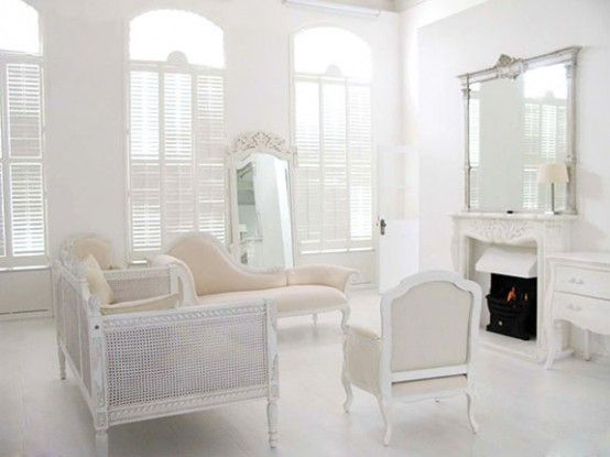 White Beige Interior Design With French Furniture Traditional Shutters On The Windows