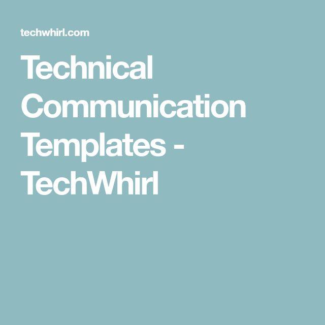 Technical Communication Templates - TechWhirl
