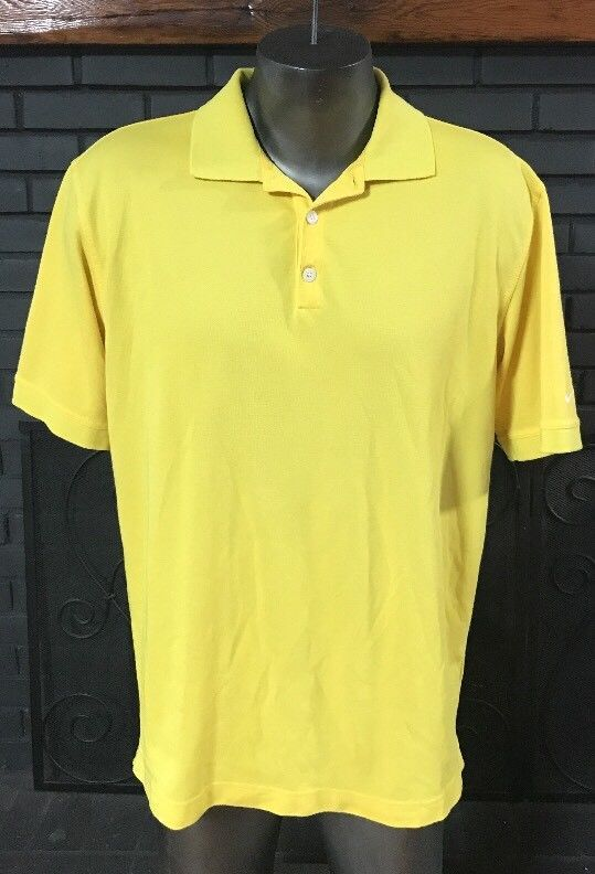 Nike Golf Dri Fit Polo Shirt Yellow Men's Size Large #Nike #ShirtsTops