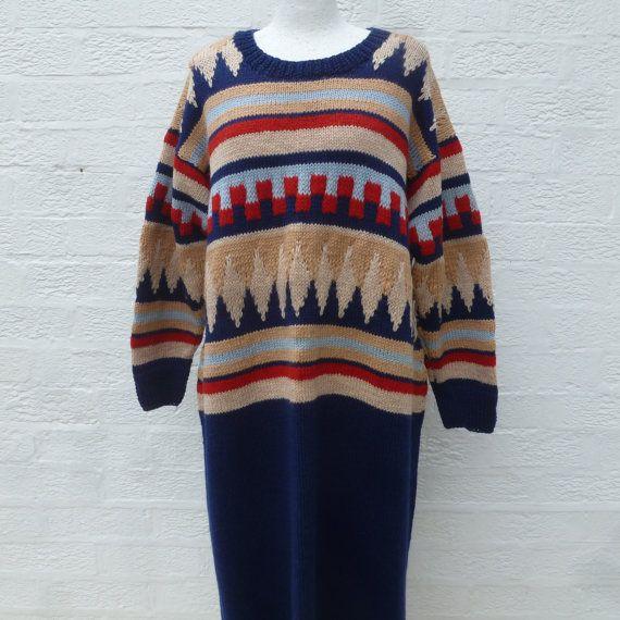 Dress handmade vintage 80s clothing aztec dress by Regathered
