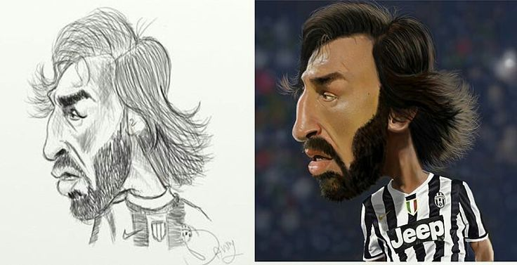 From sketch to final painting (Andrea Pirlo)