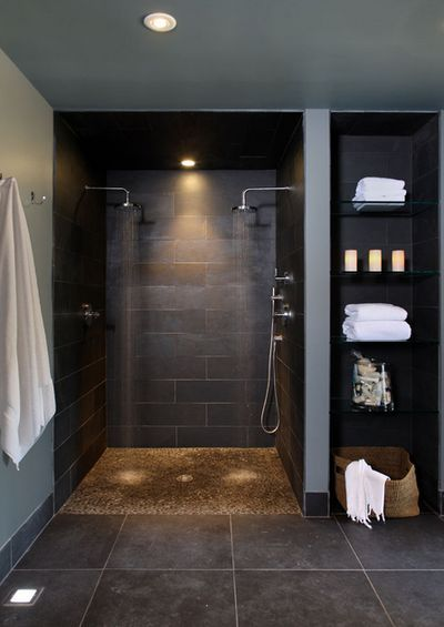 No glass to clean! Narrow it down a bit by making the open linen shelving on one side and a soap/shampoo shelving on the shower side.                                                                                                                                                     More