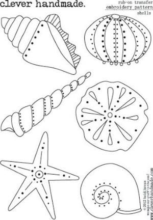 Clever+Handmade+-+Embroidery+Patterns+-+Rub+Ons+-+Shells+at+Scrapbook.com by…