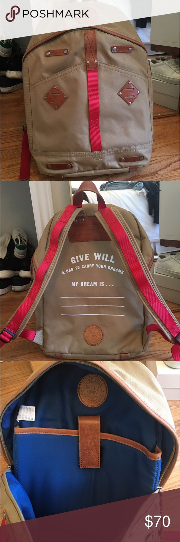 """Will Leather Goods Backpack Purchased in Portland and only used for a couple weeks, this back pack is sturdy and will wear well. Has interior laptop pocket (up to 13""""), interior zip pocket and pen/supply pockets. One exterior side zip pocket (perfect for wallet), and two slip-in pocket on the outside front. Great backpack made by a cool company. Will Leather Goods Bags Backpacks"""