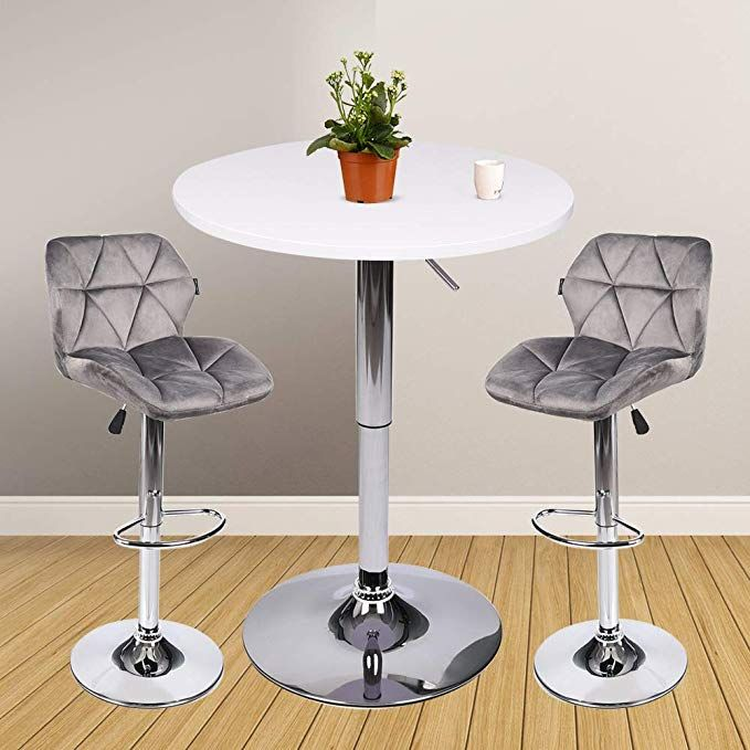 3 Pieces Bar Table Set 24 Inch Round Height Adjustable Steel Dining Bistro Kitchen Table With 2 Pieces Velvet Bar Bar Table Sets Bar Stool Table Set Bar Table