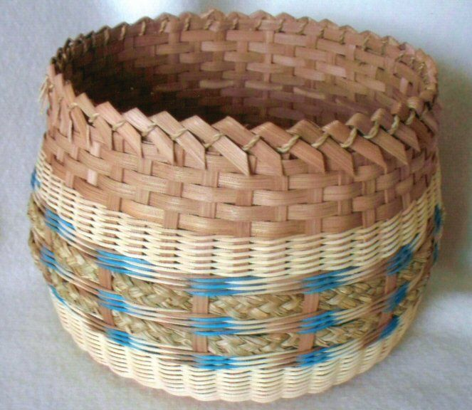 "Bluebird Basket Pattern  $3.50 - By Ann Snider  $5.50 - Woven with a 8"" Round Double Slotted Base. Contact us on BasketBees.com to purchase this pattern and slotted basket base."
