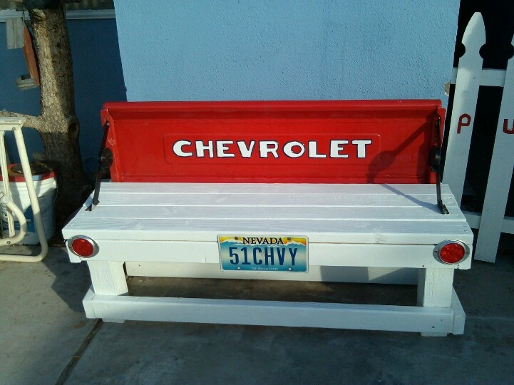 1950 chevy tail gate bench from my truck.