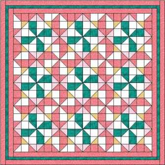 This pinwheel quilt pattern has pinwheels in the blocks and they also form where the blocks join. Lovely secondary designs