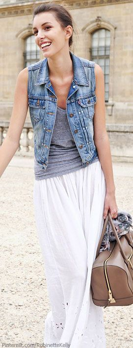 Looking for a Denim vest that would look good with multiple outfits including a maxi skirt