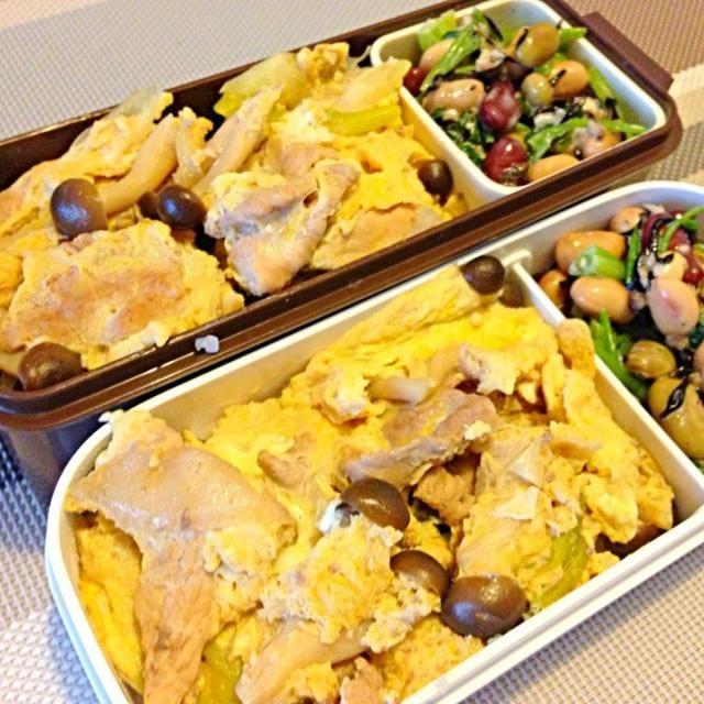 卵とじの卵が多かった(^_^;) - 17件のもぐもぐ - 豚肉卵とじ丼、ほうれん草とひじきと豆のサラダ by usaco123