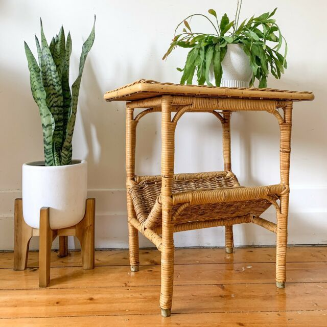 Vintage Cane Side Table Wicker Coffee Table Coffee Tables