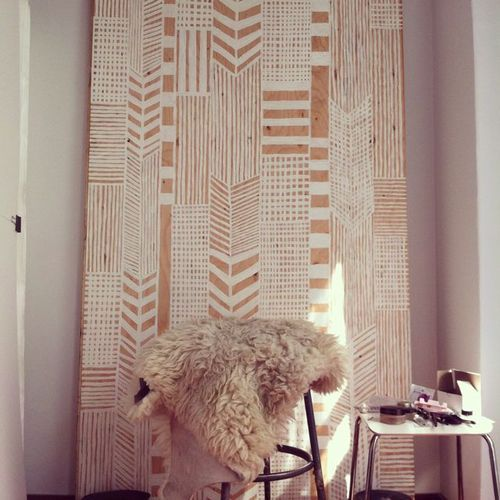 graphic wall decor (maybe as a bed headbord) via: nataliebjordal.tumblr.com
