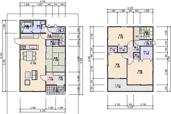 建売住宅分譲プランデータ 32坪南入り3.5間間口4LDKローコスト間取り