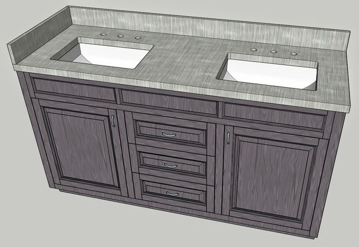 Double vanity design with sketchup file cut list and for Sketchup bathroom sink