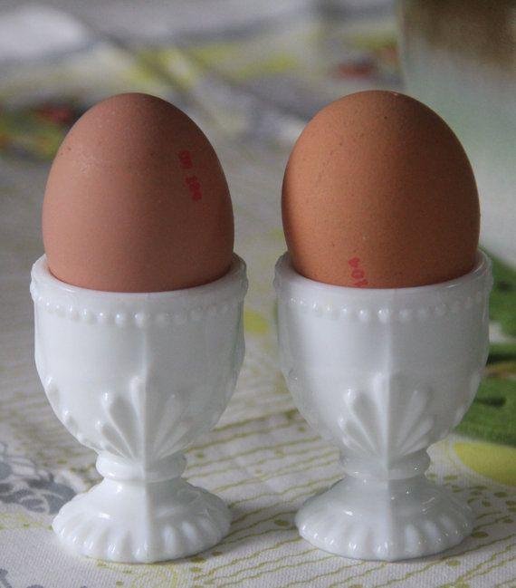 Vintage Milk Glass egg cups, (2)