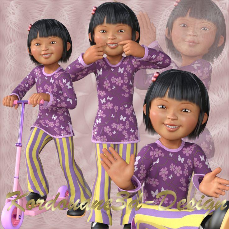 Micheline : Tube fillette asiatique stylisée (image-png)