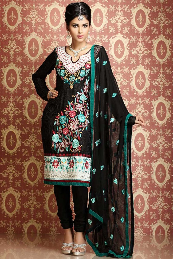 Designer Party Kameez; Black Silk and Chiffon Party and Festival Embroidered Kameez
